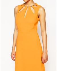 ASOS - Keyhole Multi Gold Bar Maxi Dress - Orange - Lyst