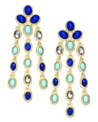 INC International Concepts | Gold-tone Turquoise And Blue Bead Chandelier Earrings | Lyst