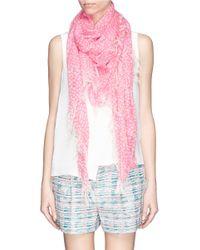 Chloé - Pink Animal Dot Print Silk-cashmere Scarf - Lyst