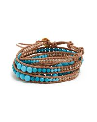 Chan Luu | Blue Beaded Leather Wrap Bracelet - Turquoise | Lyst