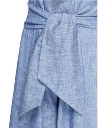 MSGM - Blue Wrap Waist Chambray Culottes - Lyst