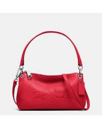 COACH | Red Charley Pebbled-Leather Cross-Body Bag | Lyst