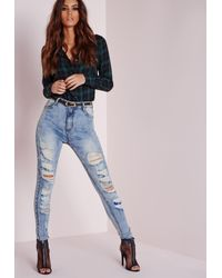 Missguided | Sinner High Waisted Extreme Ripped Skinny Jeans Mid Blue | Lyst