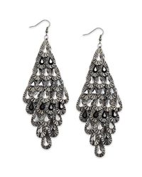 Material Girl | Gray Gunmetaltone Crystal Teardrop Diamondshaped Chandelier Earrings | Lyst