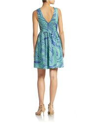 Plenty by Tracy Reese | Blue Sleeveless Fit And Flare Print Dress | Lyst