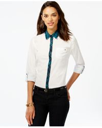 Tommy Hilfiger | White Plaid-trim Button-down Top | Lyst
