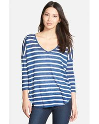 Velvet By Graham & Spencer | Blue Stripe Knit V-neck Tee | Lyst