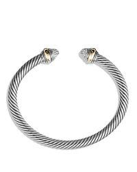 David Yurman | Metallic Cable Classics Bracelet With Diamonds And Gold | Lyst