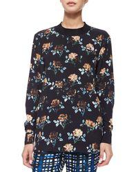 Thakoon Addition - Blue Rose-Print Sweatshirt - Lyst