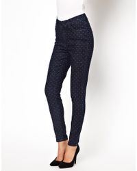 Just Female - Blue Skinny Jean in Dot Print - Lyst