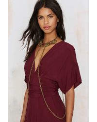 Nasty Gal | Metallic Goldbarr Collar Crime Body Chain | Lyst