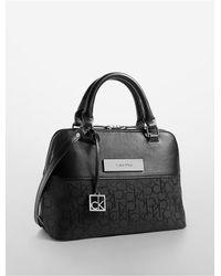 Calvin Klein | Black White Label Logo Jacquard Studio Dome Satchel | Lyst