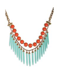 Lucky Brand | Green Goldtone Blue Spike and Orange Bead Collar Necklace | Lyst