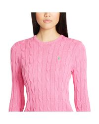 Polo Ralph Lauren - Pink Slim Cable Cashmere Sweater - Lyst