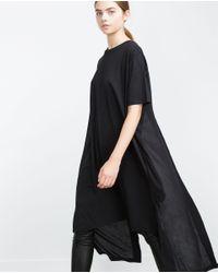 Zara | Black Long Contrasts T-shirt | Lyst