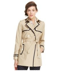 Tommy Hilfiger | Natural Piped Trench Coat | Lyst