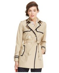 Tommy Hilfiger - Natural Piped Trench Coat - Lyst