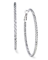 INC International Concepts | Metallic Silver-tone Textured Hoop Earrings | Lyst