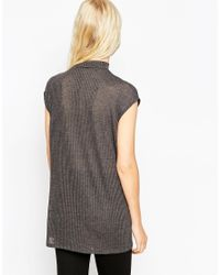 ASOS - Gray Sleeveless Longline Top With Side Split And Polo Neck In Interest Rib - Lyst