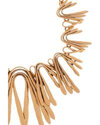 Oscar de la Renta - Metallic Gold Twist Spike Bib Necklace - Lyst