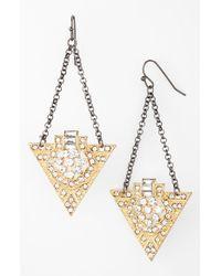 Panacea - Metallic Art Deco Drop Earrings - Lyst