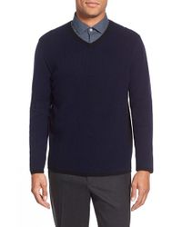 Zachary Prell | Blue 'edgware Road' Two-tone Wool Blend V-neck Sweater for Men | Lyst
