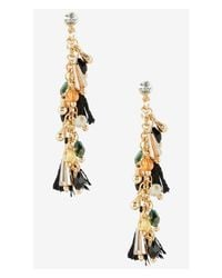Express | Metallic Bead And Tassel Embellished Post Drop Earrings | Lyst