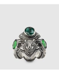 Gucci - Green Feline Head Ring With Crystals - Lyst