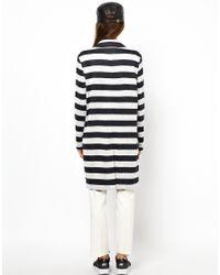 ASOS - Black Coat In Light Weight Stripe - Lyst