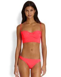 MILLY - Pink Antiqua Matte Underwire Bikini Top - Lyst