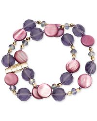 Jones New York - Gold-tone Purple Mixed Bead Two-row Stretch Bracelet - Lyst
