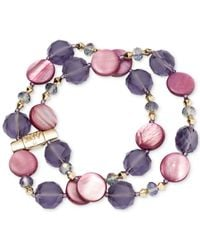 Jones New York | Gold-tone Purple Mixed Bead Two-row Stretch Bracelet | Lyst