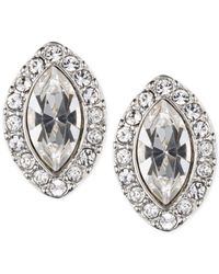 Givenchy | Metallic Rhodium-Tone Navette Button Earrings | Lyst