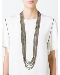 Brunello Cucinelli | Gray Multi Embellished Strands Necklace | Lyst