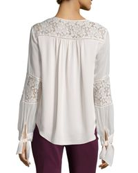 Rebecca Taylor - White Long-sleeve Silk & Lace Blouse - Lyst