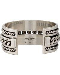 Saint Laurent - Metallic Silver Multi Twist Cuff - Lyst