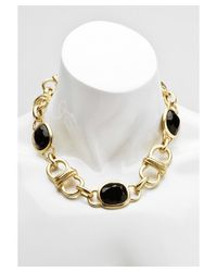 Kenneth Jay Lane | Metallic Women's Gold Plated With Black Stones Necklace | Lyst