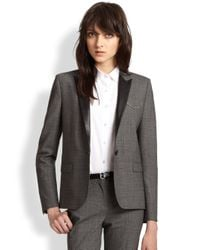 The Kooples - Gray Prince De Galles Leather-Trimmed Stretch Wool Blazer - Lyst