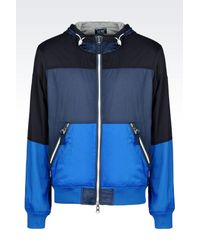 Armani Jeans - Blue Reversible Blouson In Nylon And Fleece for Men - Lyst