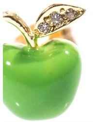 Alison Lou - Green Diamond Enamel Gold Apple Earring - Lyst