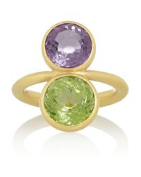 Marie-hélène De Taillac - Green 22karat Gold Amethyst and Tourmaline Ring - Lyst
