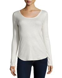 Neiman Marcus | White Cotton/cashmere Long-sleeve Metallic Top | Lyst