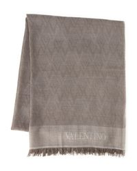 Valentino | Natural Beige Logo Scarf for Men | Lyst