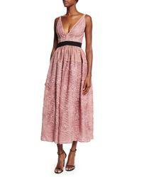 J. Mendel - Pink Sleeveless V-neck Lace Dress - Lyst