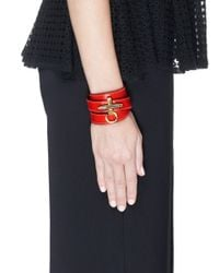 Givenchy - Red 'obsedia' Triple Wrap Leather Bracelet - Lyst