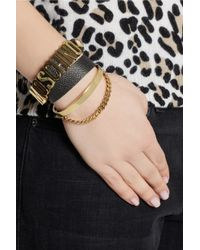 Moschino - Black Texturedleather Wrap Bracelet - Lyst