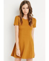 Forever 21 | Brown Textured Fit & Flare Dress | Lyst
