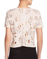 Alice + Olivia | Beige Distressed & Beaded Linen Cropped Top | Lyst