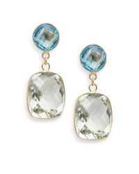 Effy | Green Amethyst, Blue Topaz & 14k Yellow Gold Drop Earrings | Lyst