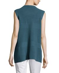 Lafayette 148 New York - Blue Mixed Rib Cascade Vest - Lyst